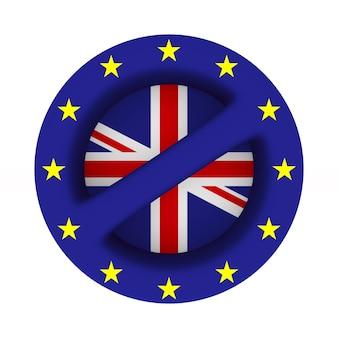 Bandeira da ue e da grã-bretanha e assinar proibido na superfície branca. ilustração 3d isolada.