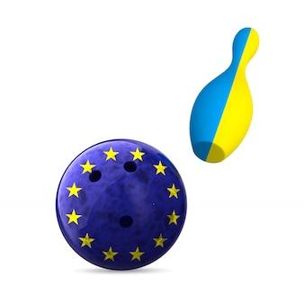 Bandeira da ue e da ucrânia e boliche na superfície branca. ilustração 3d isolada.