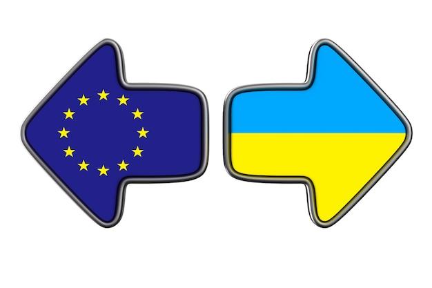 Bandeira da ue e da ucrânia na superfície branca. ilustração 3d isolada.
