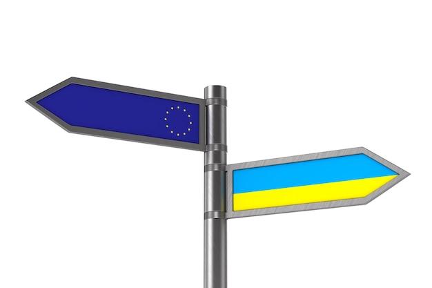 Bandeira da ue e da ucrânia no espaço em branco.