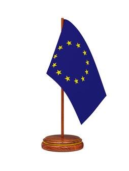 Bandeira da ue na superfície branca. imagem 3d isolada