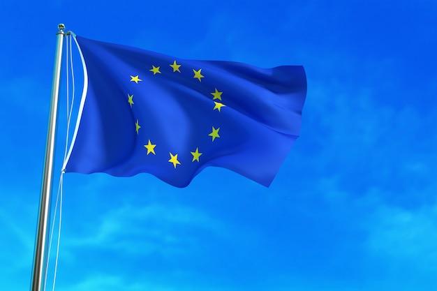 Bandeira da ue sobre o fundo do céu azul
