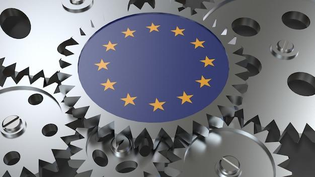 Bandeira da união europeia com engrenagens