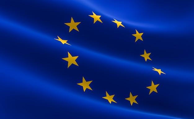 Bandeira da união européia. ilustração 3d da bandeira da ue acenando.