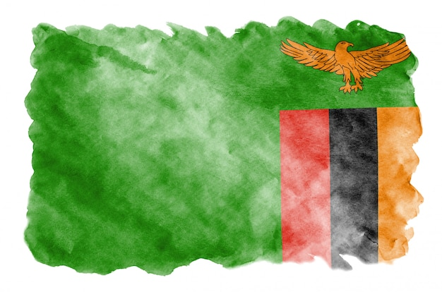 Bandeira da zâmbia é retratada no estilo aquarela líquido isolado no branco
