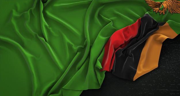 Bandeira da zâmbia enrugada no fundo escuro 3d render