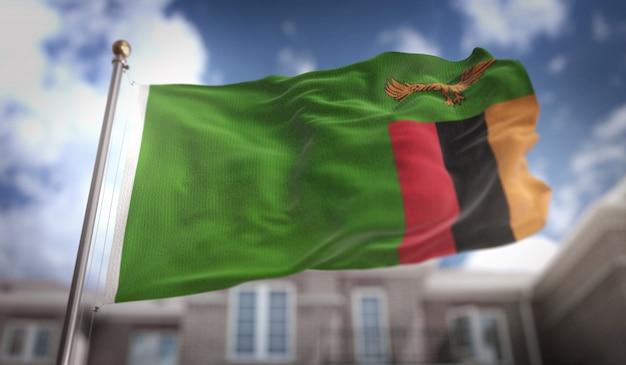 Bandeira da zâmbia representação 3d no fundo do edifício do céu azul