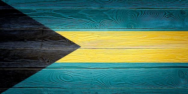 Bandeira das bahamas pintada em pranchas de madeira