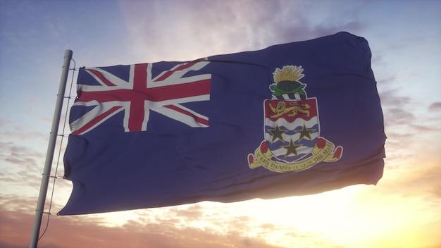 Bandeira das ilhas cayman balançando ao vento, o céu e o sol de fundo. renderização 3d.