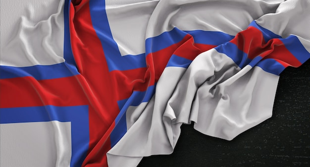 Bandeira das ilhas faroé enrugada no fundo escuro 3d render