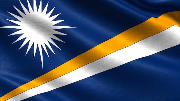 Bandeira das ilhas marshall, com textura de tecido acenando
