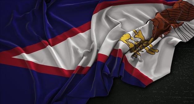 Bandeira das samoa americana enrugada no fundo escuro 3d render