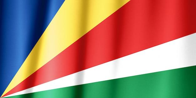 Bandeira das seychelles acenando. bandeira nacional de seychelles para o dia da independência.