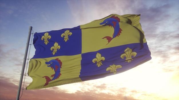Bandeira dauphine, frança, balançando ao vento, o céu e o sol de fundo. renderização 3d.