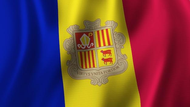Bandeira de andora acenando renderização 3d em close-up com imagem de alta qualidade com textura de tecido