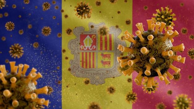 Bandeira de andorra acenando com o vírus do microscópio coronavírus