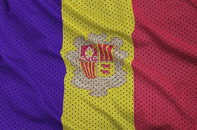 Bandeira de andorra estampada em uma malha de nylon de sportswear de poliéster