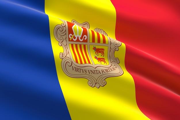 Bandeira de andorra, ilustração 3d da bandeira de andorra acenando