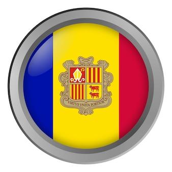 Bandeira de andorra rodada como um botão