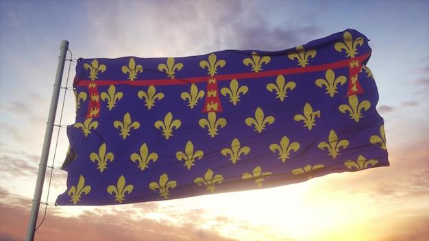 Bandeira de artois, frança, balançando ao vento, o céu e o sol de fundo. renderização 3d.