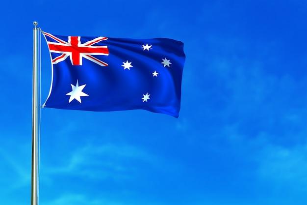 Bandeira de austrália na rendição 3d do fundo do céu azul