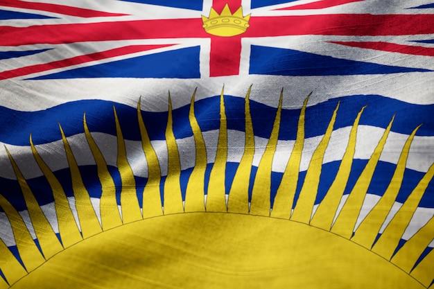 Bandeira de babados da colúmbia britânica soprando no vento