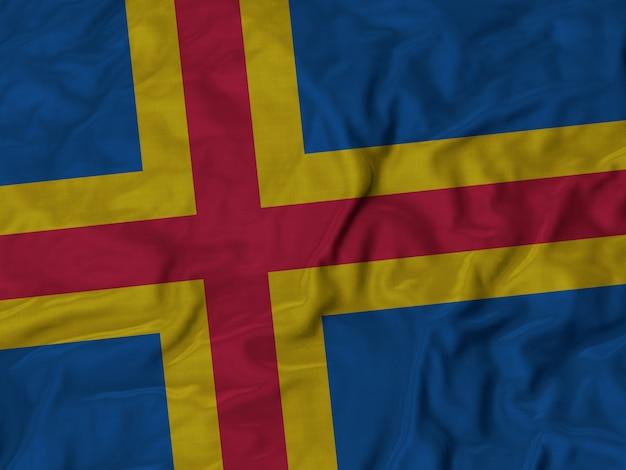Bandeira de babados de aland soprando no vento