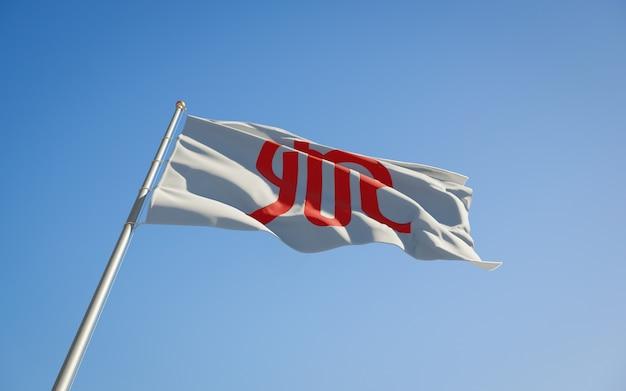 Bandeira de baixo ângulo da prefeitura de kanagawa japão. arte 3d