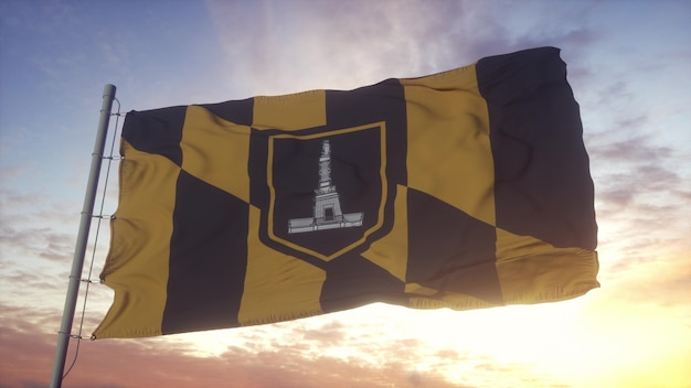 Bandeira de baltimore, cidade de maryland, balançando ao vento, o céu e o sol de fundo. renderização 3d.