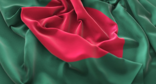 Bandeira de bangladesh ruffled beautifully waving macro close-up shot