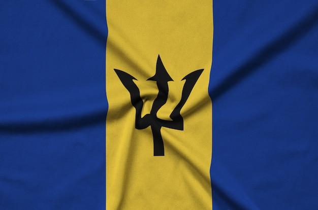 Bandeira de barbados é retratada em um tecido com muitas dobras