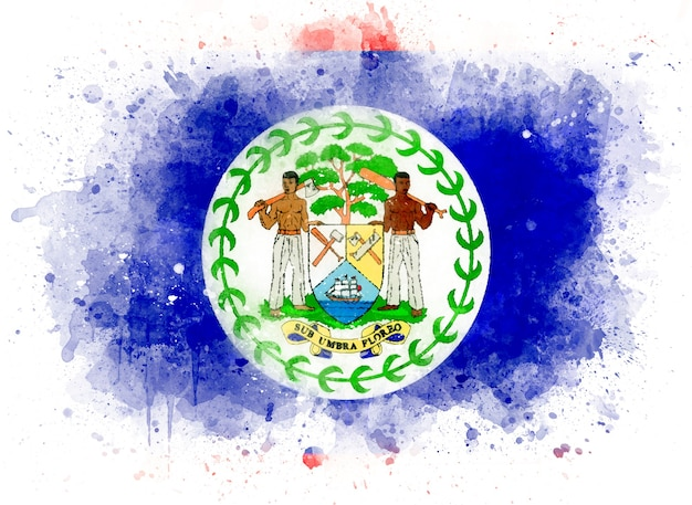 Bandeira de belize como ilustração em aquarela