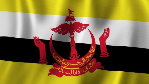 Bandeira de brunei acenando em close-up renderização em 3d com imagem de alta qualidade com textura de tecido