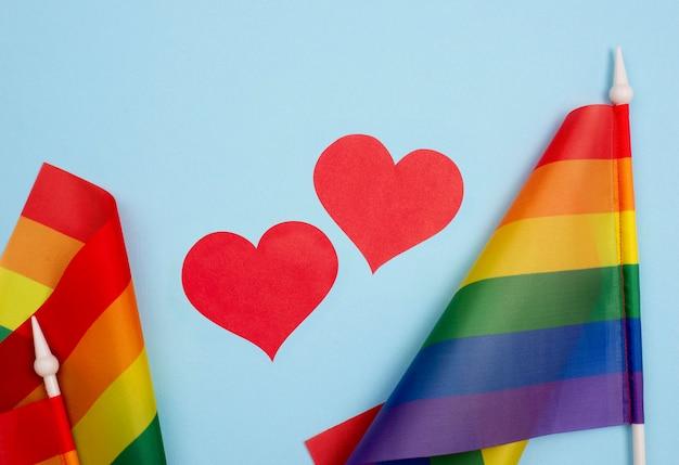 Bandeira de corações e dia do orgulho