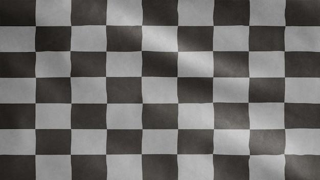 Bandeira de corrida balançando ao vento. corrida de carro ou esporte automotivo, competição de velocidade em motocicleta