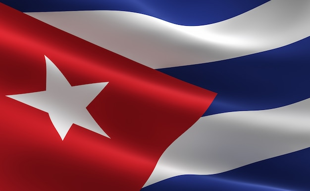 Bandeira de cuba. ilustração da bandeira cubana acenando.