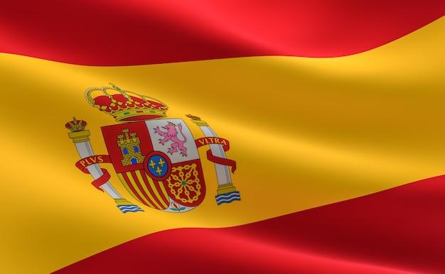 Bandeira de espanha. ilustração da bandeira espanhola acenando.