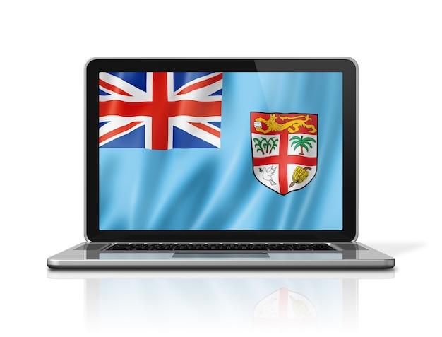 Bandeira de fiji na tela do laptop isolada no branco. ilustração 3d render.