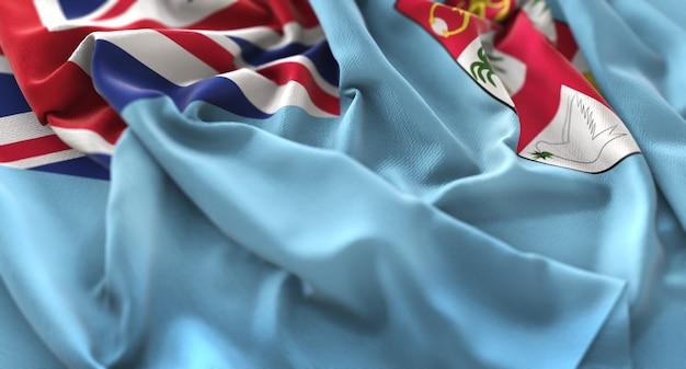 Bandeira de fiji ruffled beautifully waving macro close-up shot