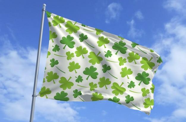 Bandeira de folha de trevo - dia de são patrício