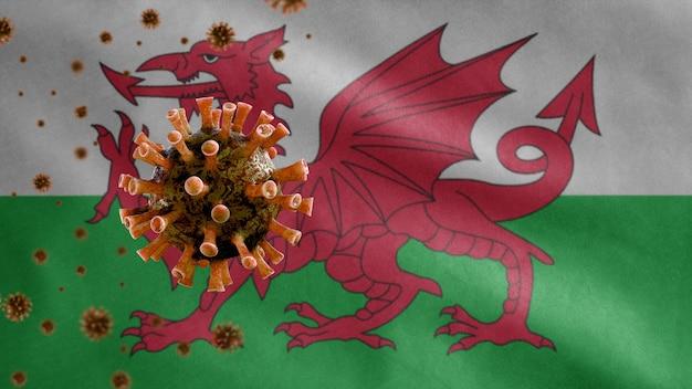 Bandeira de galês acenando e o conceito de coronavirus 2019 ncov.