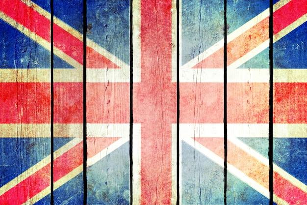 Bandeira de grunge de madeira da grã-bretanha.