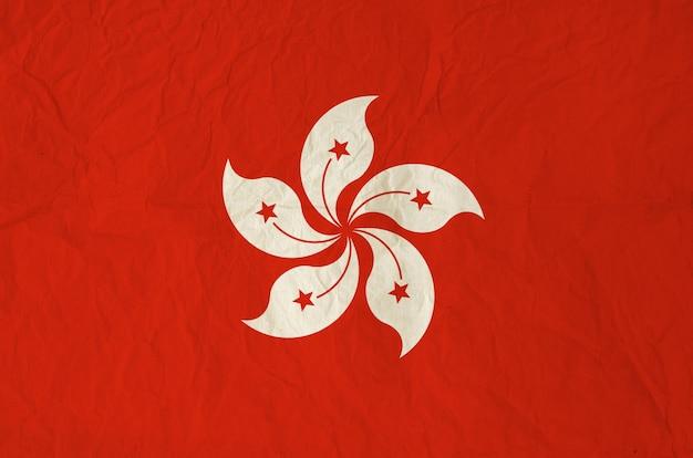 Bandeira de hong kong com papel antigo vintage
