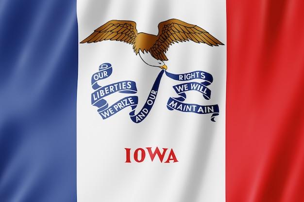 Bandeira de iowa, estado dos eua. ilustração 3d da bandeira de iowa acenando.