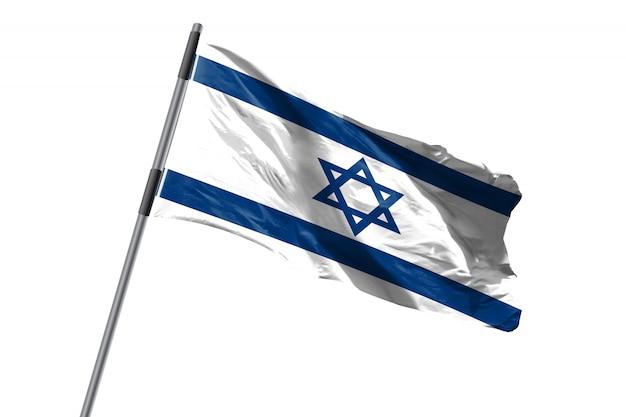 Bandeira de israel acenando contra imagem de fundo branco