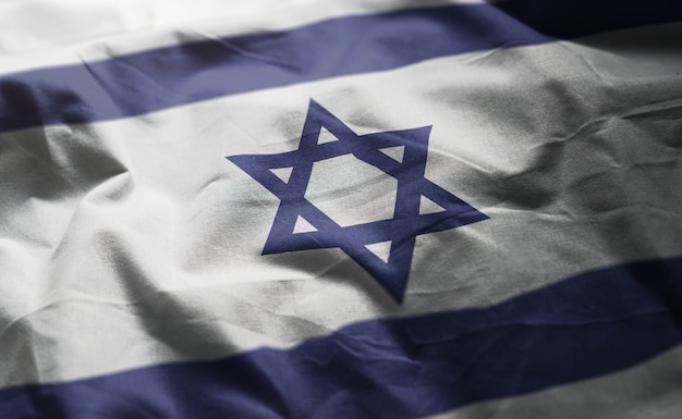 Bandeira de israel amarrotada close up
