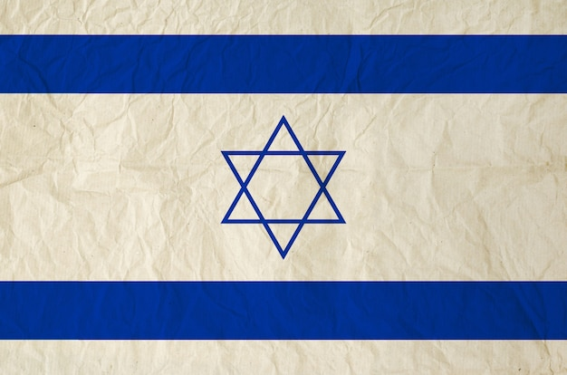 Bandeira de israel com textura de papel velho vintage