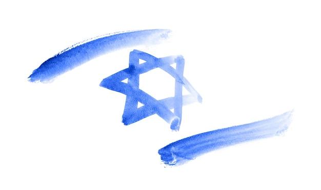 Bandeira de israel. desenho em aquarela