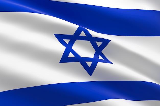 Bandeira de israel. ilustração 3d da bandeira de israel acenando