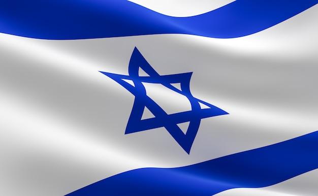 Bandeira de israel. ilustração 3d da bandeira israelita acenando.
